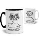 Witzige Katzen-Tassen mit Spruch - Soziale Kontakte meiden