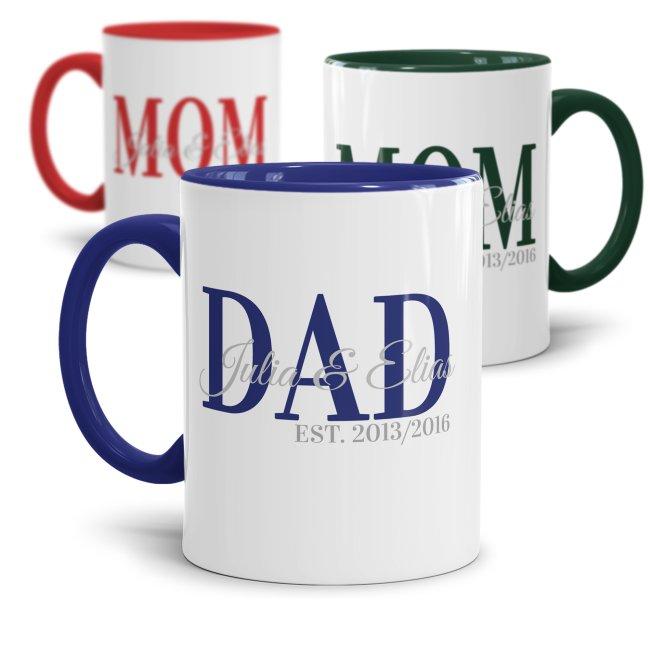 Namenstassen für MOM oder DAD mit Kindernamen und Geburtsjahren