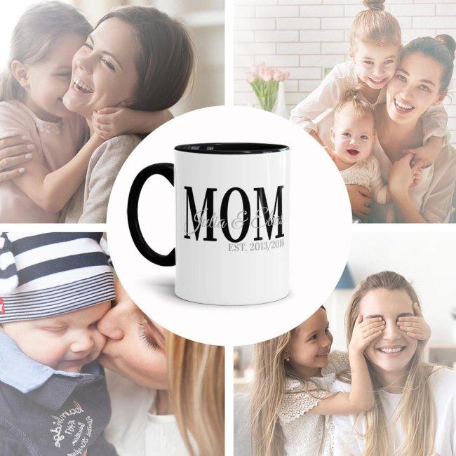 Namenstasse für MOM - Innen & Henkel Schwarz - Personalisierbar mit Kindernamen und Geburtsjahr