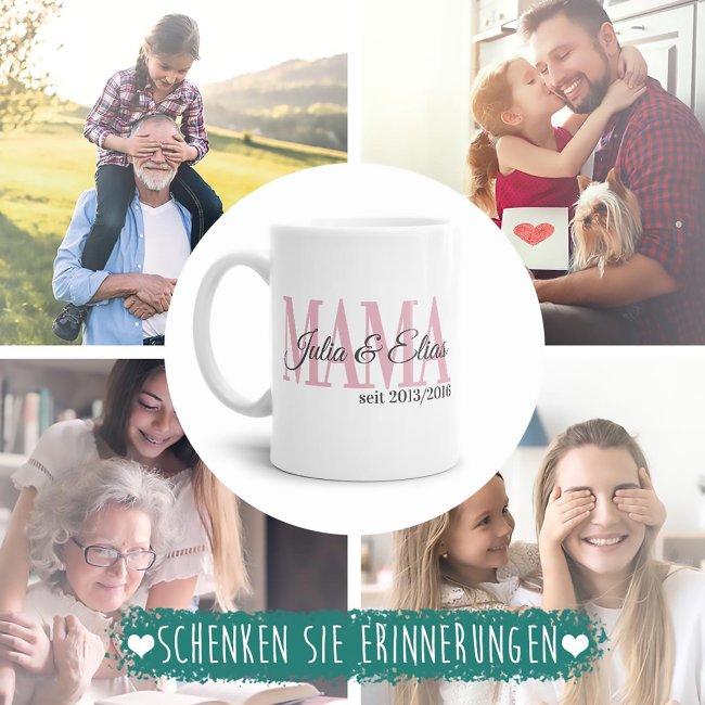 Tasse für Mama mit Kindernamen und Geburtsjahr selbst gestalten - Weiß Glanz