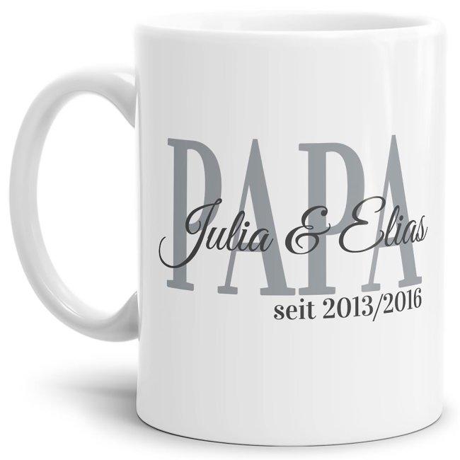 Tasse für Papa mit Kindernamen und Geburtsjahr selbst gestalten - Weiß Glanz