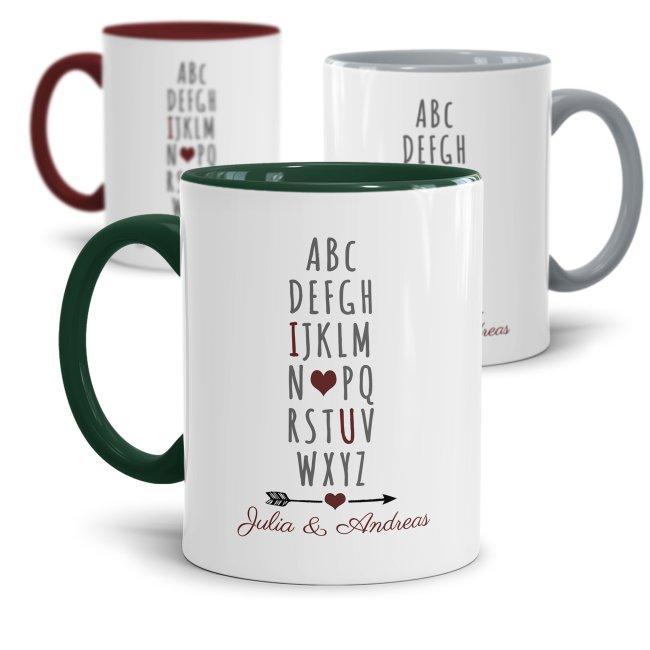 Tassen mit Spruch - I love you ILU - mit Wunschnamen