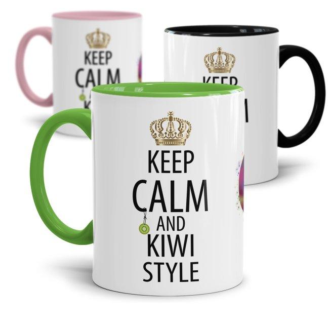 Tasse mit Spruch - Kiwi Tasse - Keep Calm and Kiwi Style