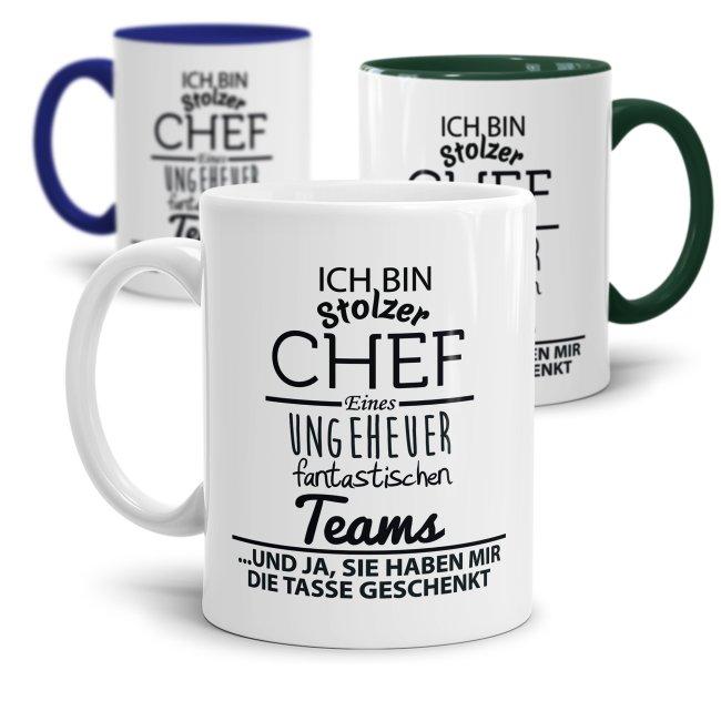 Tasse mit Spruch - Chef Tasse - Stolzer Chef, fantastisches Team
