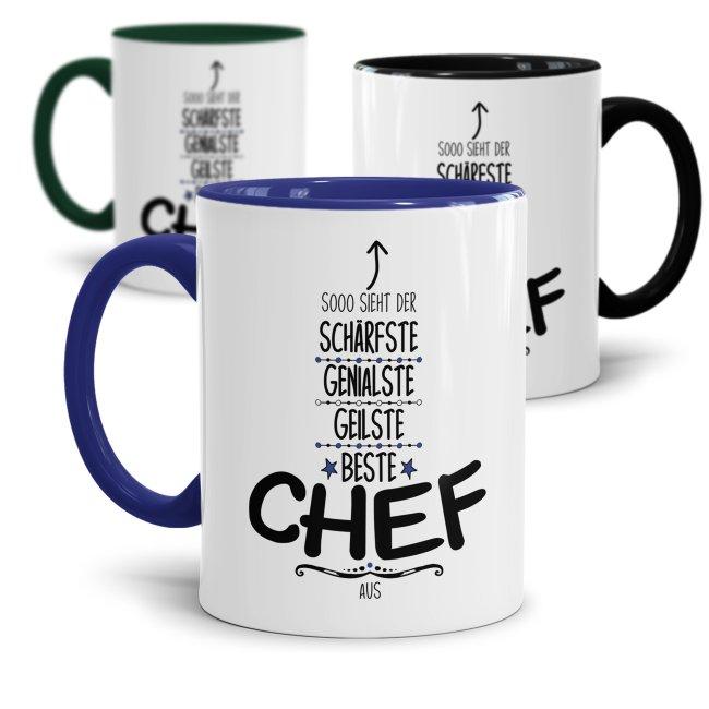 Tasse mit Spruch - Lustige Chef Tasse - So sieht der beste Chef aus