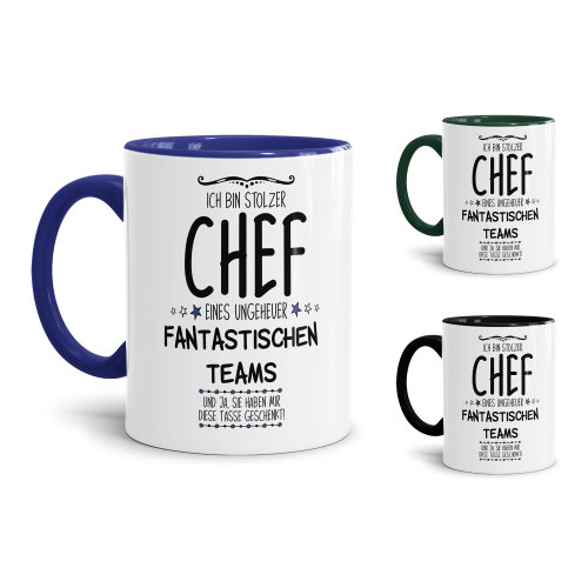 Tasse mit Spruch - Chef Tasse - Stolzer Chef eines fantastischen Teams