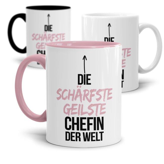 Tasse mit Spruch - Lustige Tasse Chefin - Die schärfste geilste Chefin der Welt