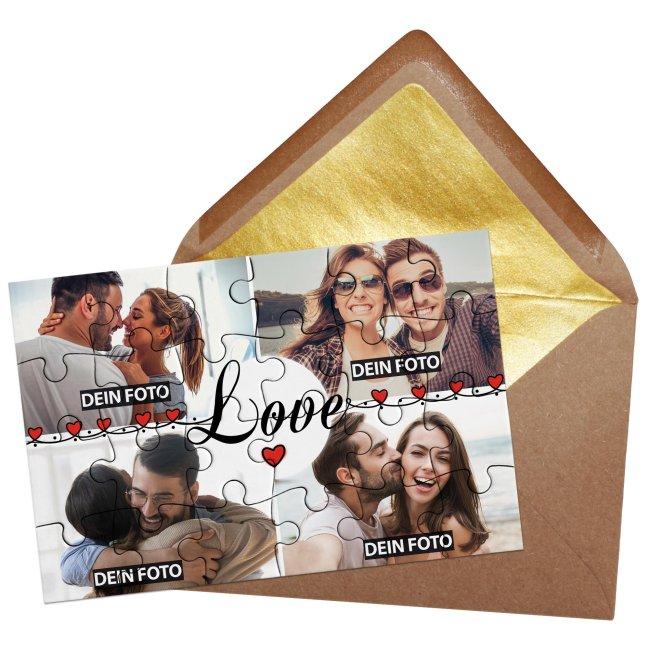 Foto-Puzzle mit 4 Fotos - Love - 24 Teile inkl. Umschlag