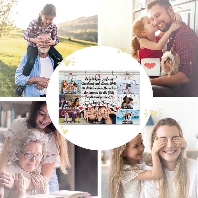 Foto-Puzzle mit sieben Fotos für die beste Freundin - 24 Teile inkl. Umschlag