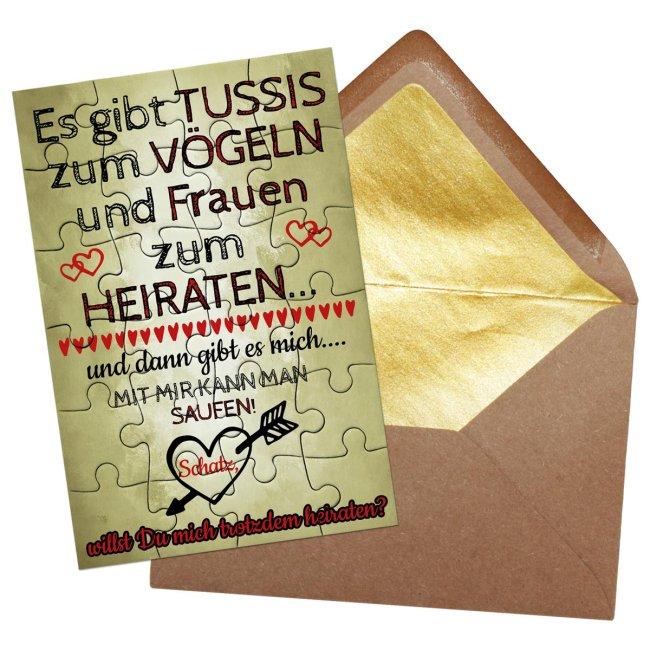 Puzzle - Heiratsantrag lustig - 24 Teile inkl. Umschlag