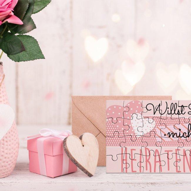 Puzzle - Willst Du mich heiraten? - Herz - 24 Teile inkl. Umschlag