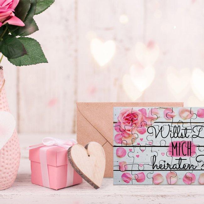 Puzzle - Willst Du mich heiraten? - Rosen - 24 Teile inkl. Umschlag