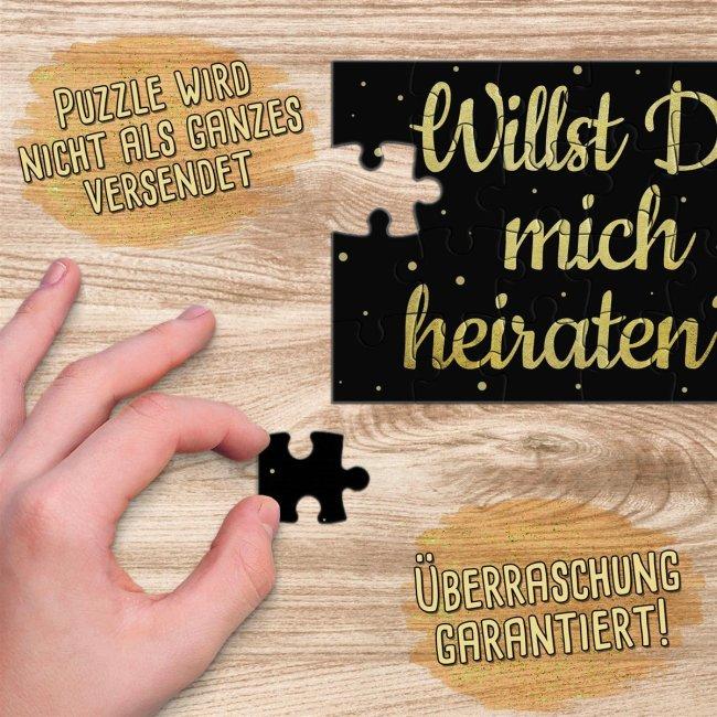 Puzzle - Willst Du mich heiraten? - Schwarzes Design - 24 Teile inkl. Umschlag