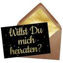 Puzzle mit Spruch - Willst Du mich heiraten? - Schwarzes...