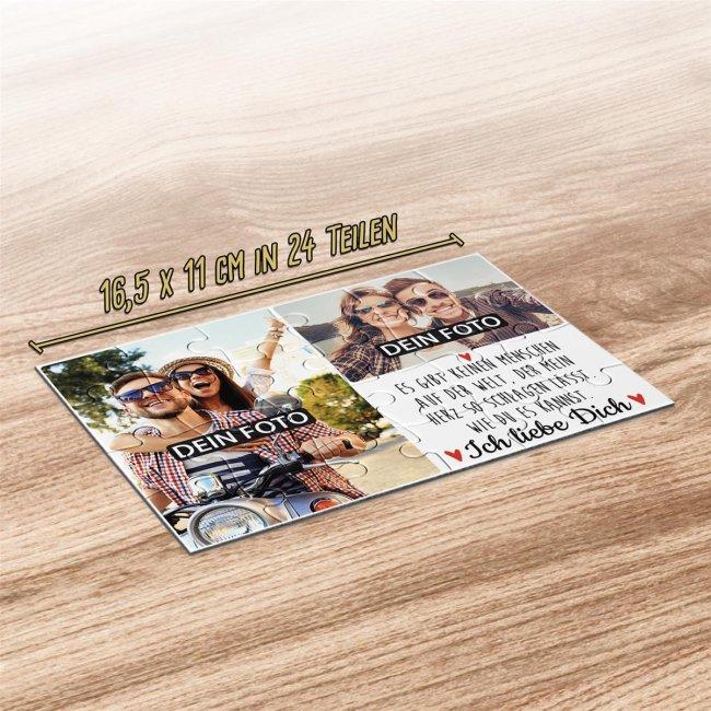 Foto-Puzzle mit zwei Fotos und Spruch - Ich liebe dich - 24 Teile inkl. Umschlag