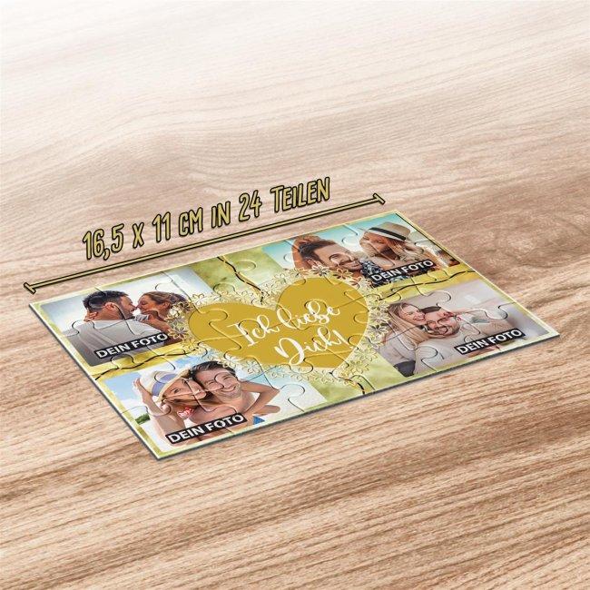 Foto-Puzzle mit vier Fotos und Spruch - Ich liebe dich - 24 Teile inkl. Umschlag