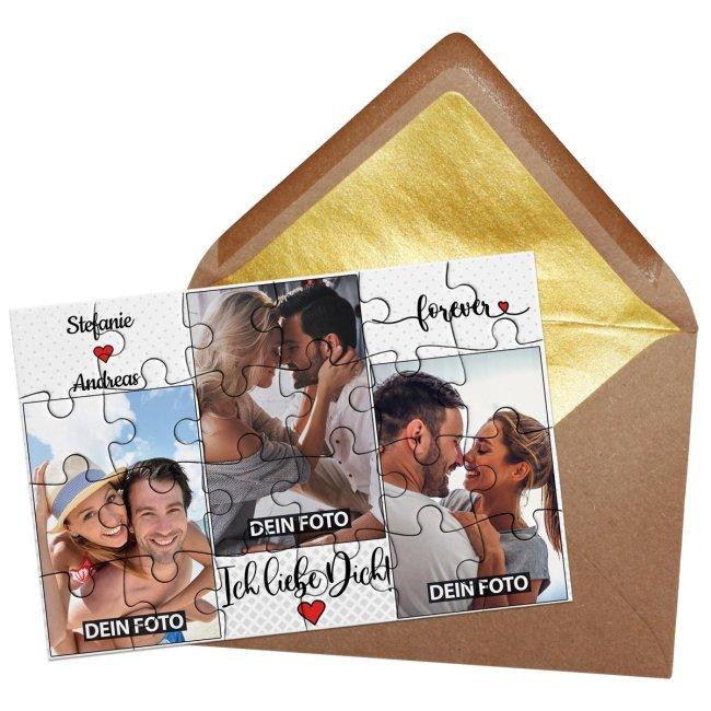 Foto-Puzzle mit drei Fotos und Namen - Ich liebe dich - 24 Teile inkl. Umschlag
