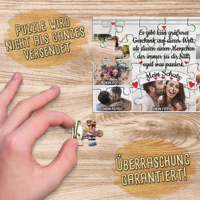 Foto-Puzzle mit sieben Fotos und Spruch - Mein Schatz - 24 Teile inkl. Umschlag