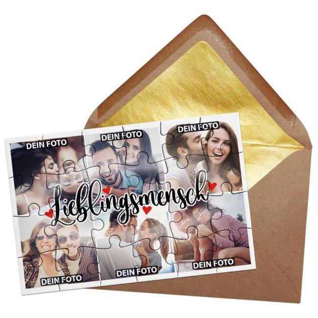 Foto-Puzzle mit sechs Fotos - Lieblingsmensch - inkl. Umschlag
