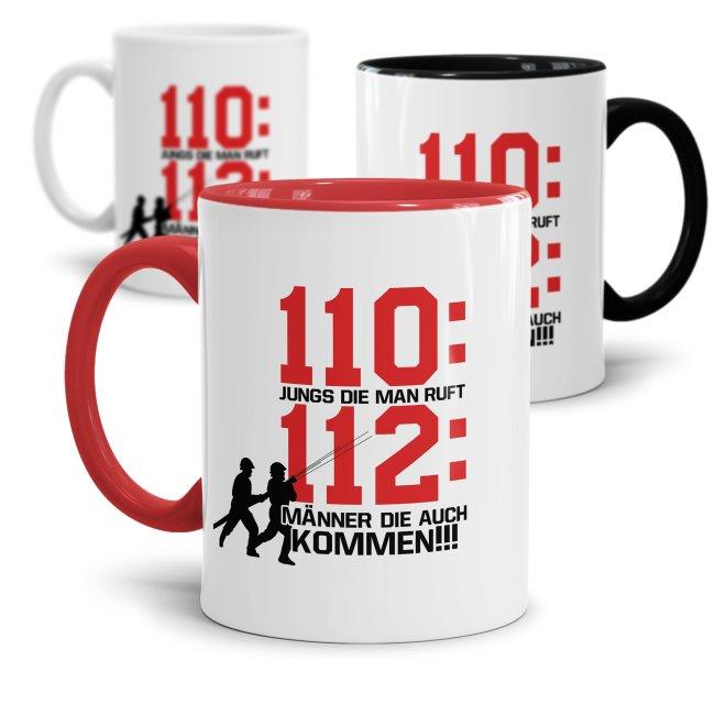 Feuerwehr Tasse - 112 Männer die auch kommen!