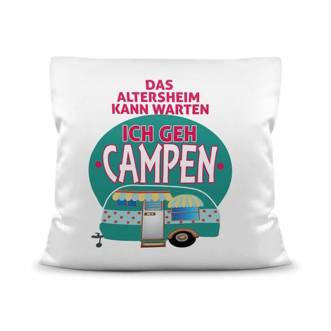 Lustige Kissen mit Camping-Sprüchen