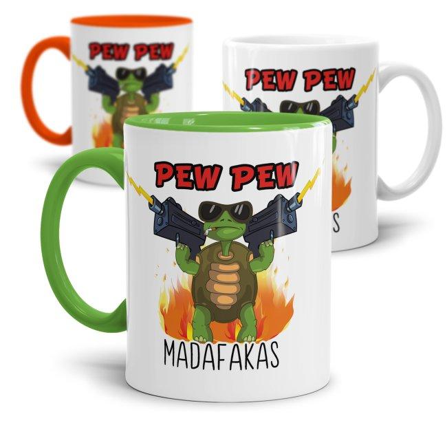 Tasse mit Spruch - Pew Pew Madafakas - Schildkröte