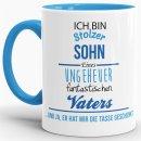 Tasse Stolzer Sohn - Innen & Henkel Hellblau