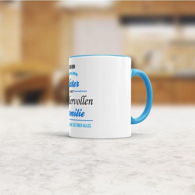 Tasse Stolzer Vater - Innen & Henkel Blau