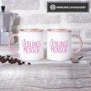 Tasse Lieblingsmensch - Innen und Henkel Rosa