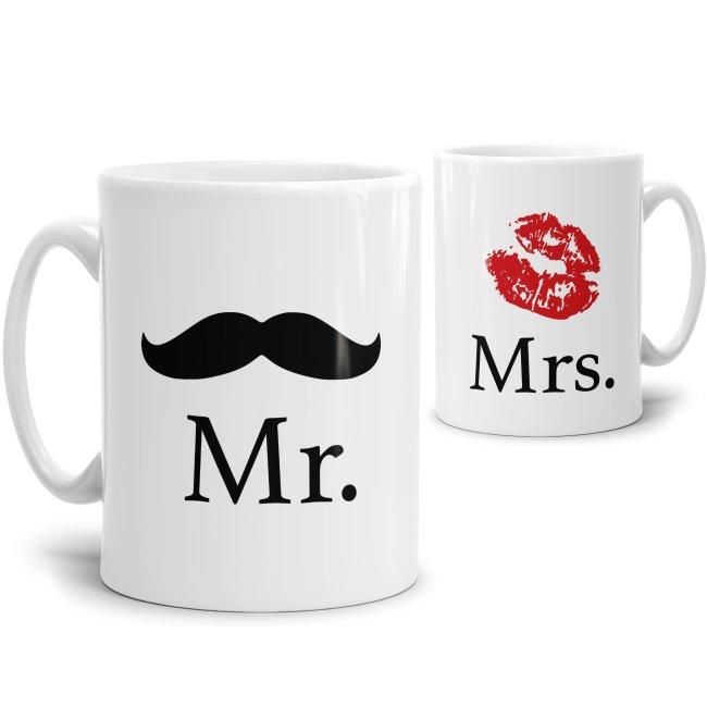 Tassenset Mr. und Mrs. mit Schnurrbart und Kussmund