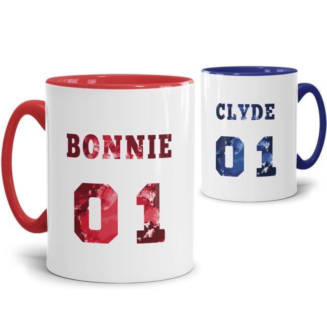 Tassenset Bonnie & Clyde Innen / Henkel Rot & Blau