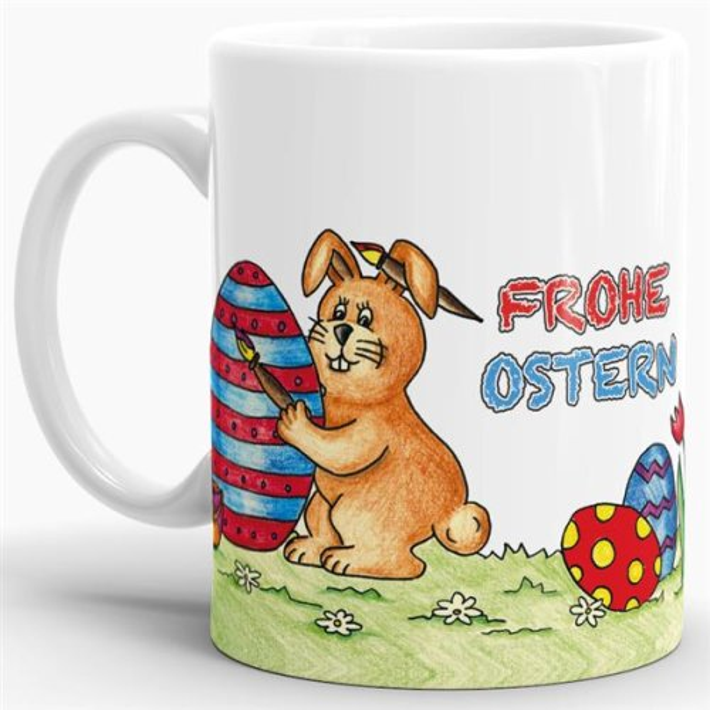 Tasse Frohe Ostern gemalt
