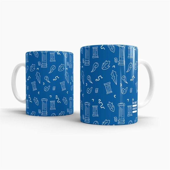 Du bist Grieche - Tasse - Blue Pattern 1
