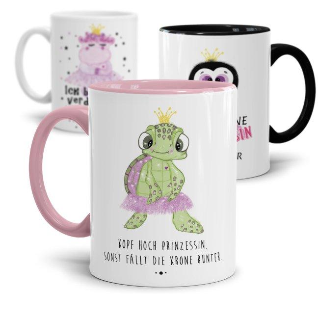 Tasse mit Tier- Prinzessinnen und verschiedenen Sprüchen