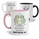 Tasse mit verschiedenen Tieren und Sprüchen