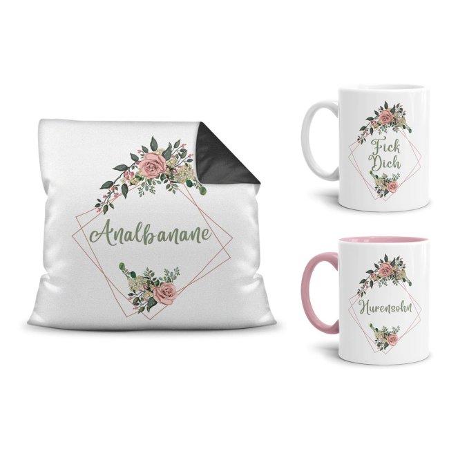 Freche Tassen und Kissen mit Blumenmotiv und Beleidigungsspruch