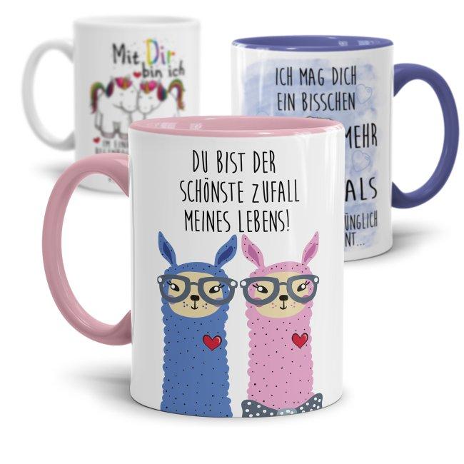 Tasse Liebe -verschiedene Sprüche- Alpaka- Einhorn- Hase