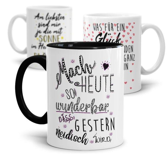 Tasse mit schönen Sprüchen - Sonne Liebe Herz