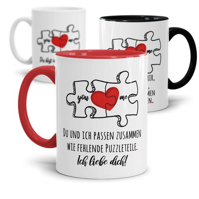 Tasse Puzzleteile - verschiedene Liebes-Sprüche