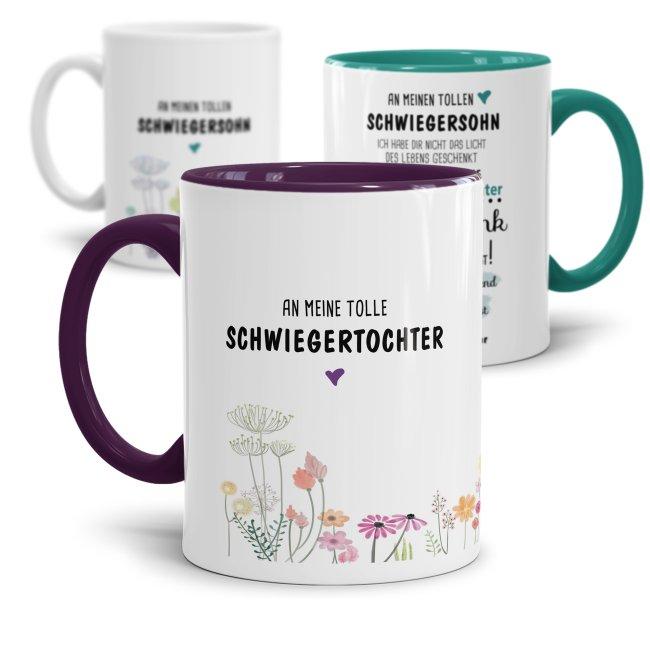Spruch-Tassen für Schwiegertochter und Schwiegersohn