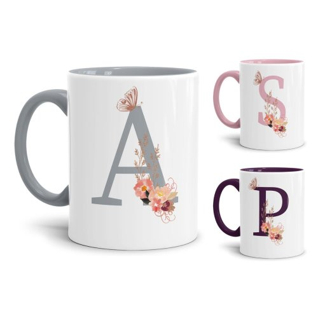 Edle Buchstaben-Tassen mit Blumenmotiv