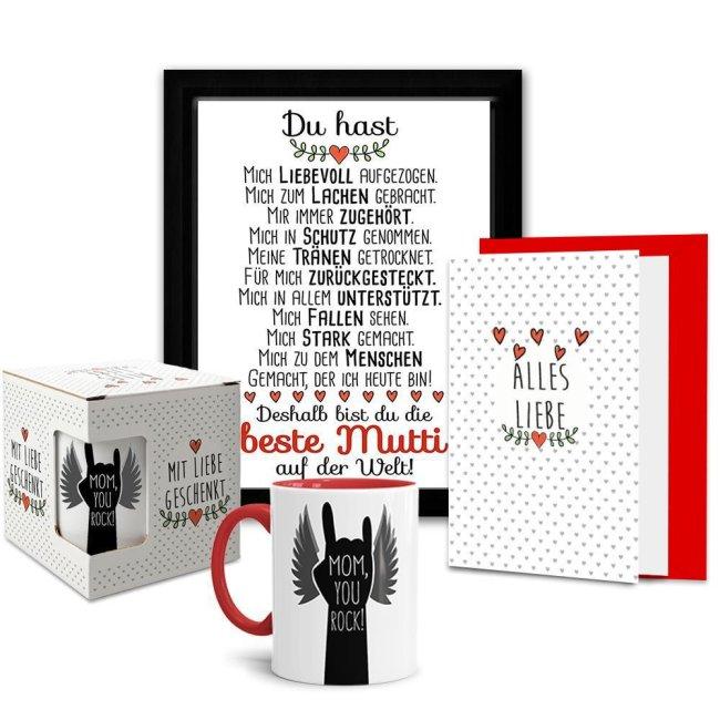 Geschenk-Set mit Wandtafel, Tasse in Geschenk-Box und Karte