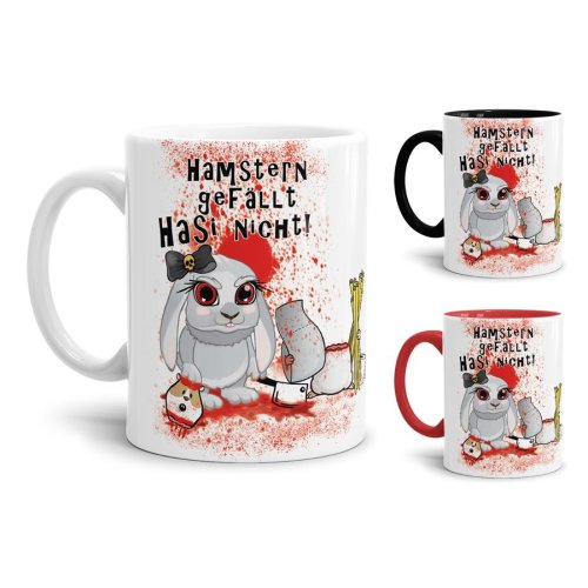 Anti-Hamster-Tasse Böses Hasi mit Spruch - Hamstern