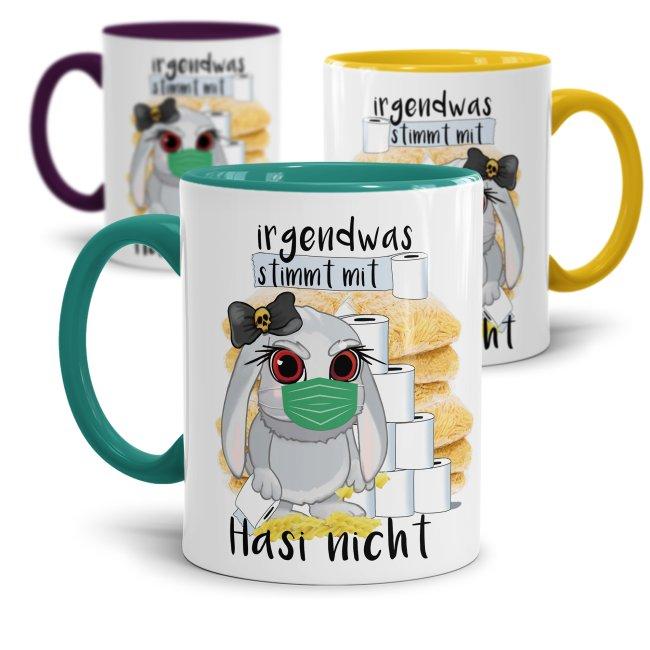 Anti-Hamster-Tasse Böses Hasi mit Spruch  - Klopapier und Nudeln