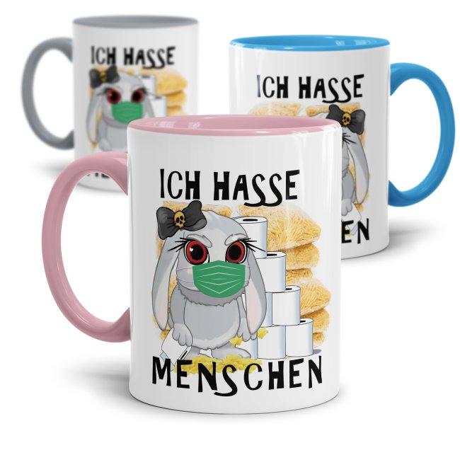 Anti-Hamster-Tasse Böses Hasi mit Spruch - Ich hasse Menschen
