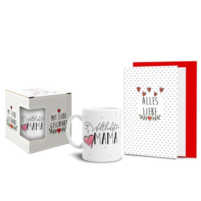 Geschenk-Set - Weltliebste Mama - Tasse inkl. Grußkarte und Geschenk-Box
