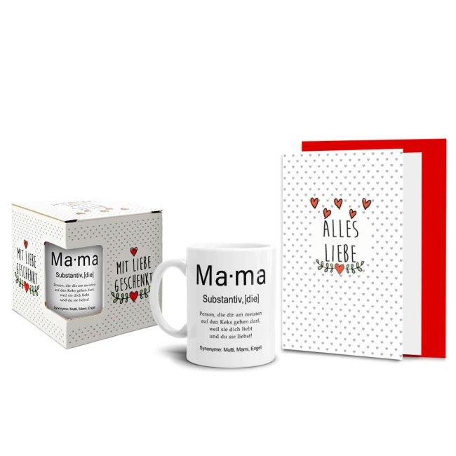 Geschenk-Set - Dudenwort Mama - Tasse inkl. Grußkarte und Geschenk-Box