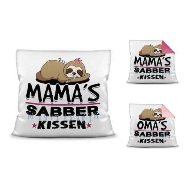 Kuschel-Kissen mit Spruch für Mama und Oma - Sabberkissen
