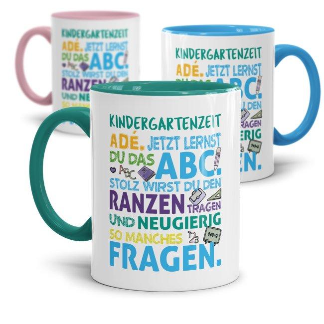 Tasse für Kinder zur Einschulung - Kindergartenzeit adé