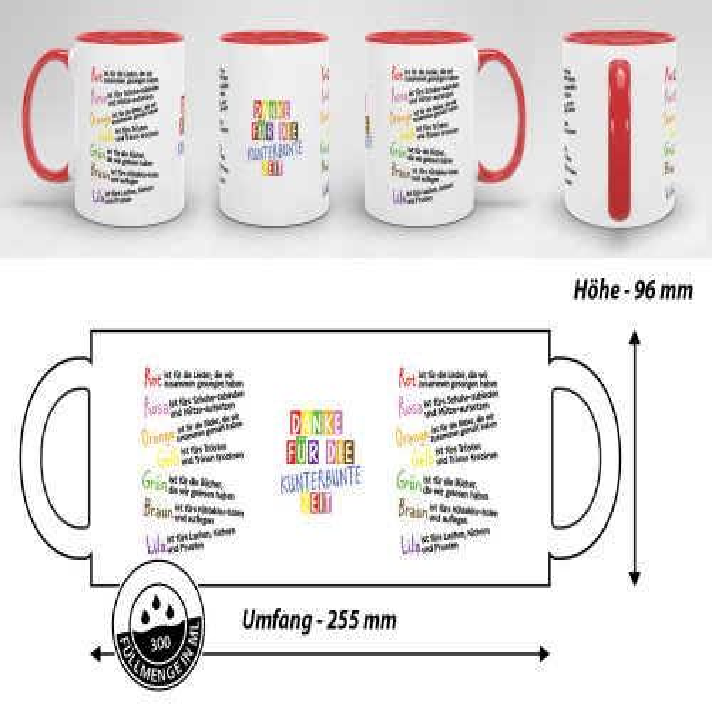 Tasse für Kinder mit Spruch zum Kitaabschied - Danke für die Kitazeit